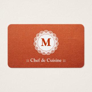 de Cuisine Elegant Chefのレースのモノグラム 名刺