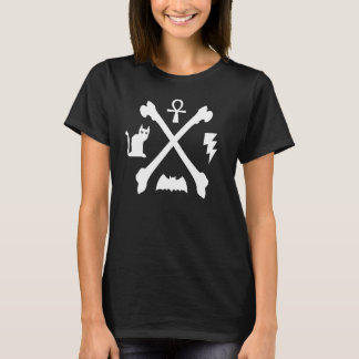 Deathrockのゴシックの子猫猫のAnkhのこうもりの骨 Tシャツ