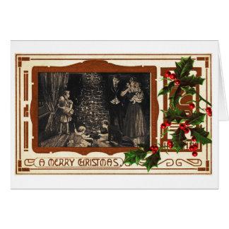 Decoのクリスマスのヴィンテージ家族のビクトリア時代の人のヒイラギ カード
