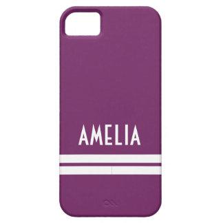 Decoのストライプな一流のモノグラムの紫色の白 iPhone SE/5/5s ケース