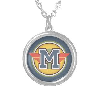 """Decoのモノグラムの手紙""""M""""のイニシャル シルバープレートネックレス"""