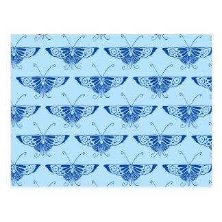 Decoの様式化された蝶-コバルトおよび淡いブルー ポストカード