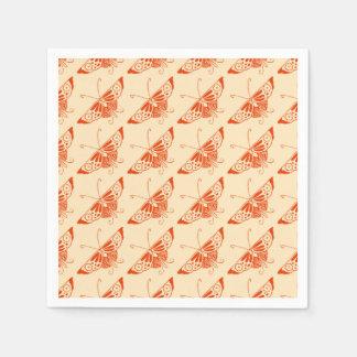 Decoの様式化された蝶-マンダリンオレンジ スタンダードカクテルナプキン