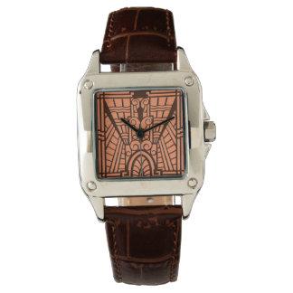 Deco建築パターン、銅およびブラウン 腕時計
