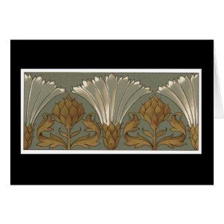 Deco金ゴールドおよび灰色の白いファンの花 カード