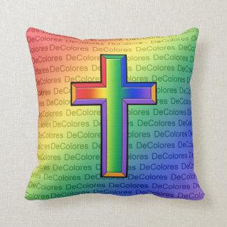 DeColoresの文字の枕が付いている虹の十字 クッション