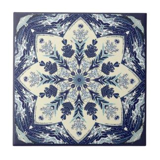 Deconstructed Great Blue Wave Mandala Ceramic Tile