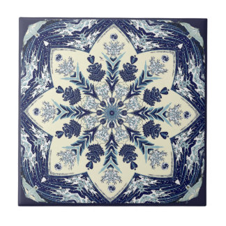 Deconstructed Great Blue Wave Mandala Ceramic Tile タイル