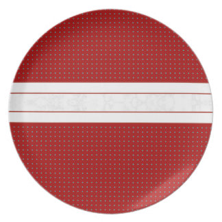 Decorative Poka Dot Red with White Marble Stripe プレート