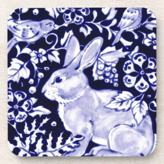 Dedhamの青いウサギ、クラシックで青及び白いデザイン コースター