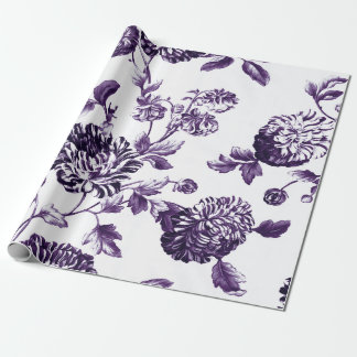 Deep Mulberry Purple Botanical Floral Toile ラッピングペーパー