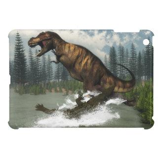 deinosuchusによって攻撃されるティラノサウルス・レックスのレックスの恐竜 iPad mini case