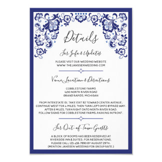 Delfts Blauw |デルフトの青いオランダの結婚式の詳細 カード