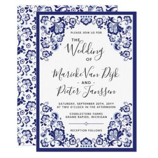 Delfts Blauw |デルフトの青いオランダの結婚式招待状 カード