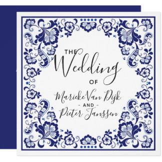 Delfts Blauw |デルフトの青いタイルの結婚式招待状 カード