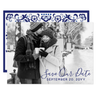 Delfts Blauw |デルフトの青の保存日付の写真 カード