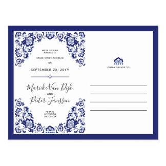 Delfts Blauw |デルフトの青の保存日付の写真 ポストカード