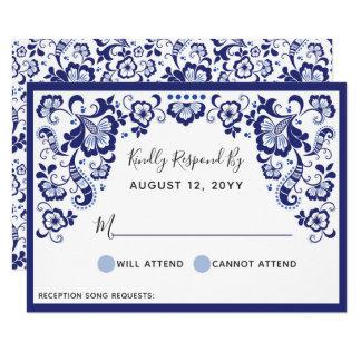 Delfts Blauw |デルフト青いオランダの結婚RSVPのカード カード