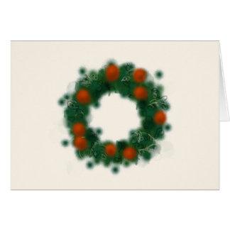 Delightful watercolor Christmas wreath カード