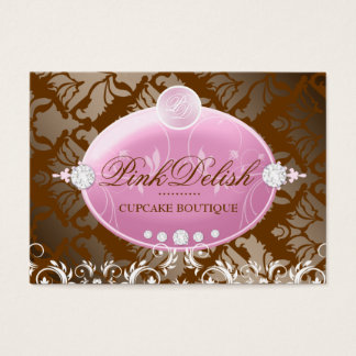 Delishの311ピンクのモノグラム| MilkChocolate 3.5 x 2.5 名刺