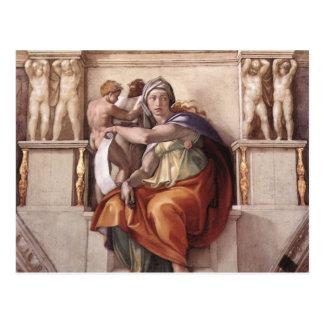 Delphic Sibyl -フレスコ画のシスティーナ礼拝堂 ポストカード