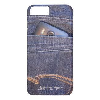 deminのジーンズの小型のモノグラムの名前の写真の電話 iPhone 8 plus/7 plusケース