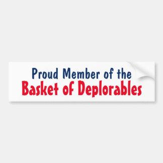 Deplorablesのバスケットの切札の誇り高いメンバー バンパーステッカー