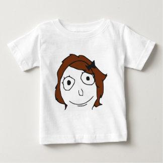 Derpinaブラウンの毛の激怒の顔のミーム ベビーTシャツ
