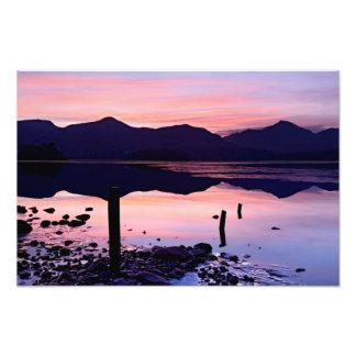 Derwentwaterの日没、湖地区 フォトプリント