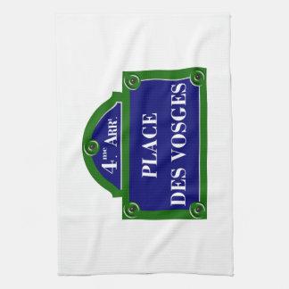 desボウジェのパリの道路標識を置いて下さい キッチンタオル