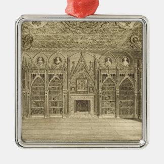 「Descriptioからのゴッドフリーが、刻む図書館 シルバーカラー正方形オーナメント