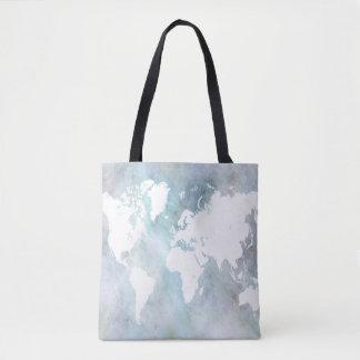 Design 68 world map blue トートバッグ