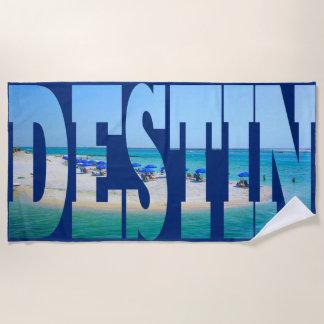 Destinのビーチのフロリダの写真のタイポグラフィのモダン ビーチタオル