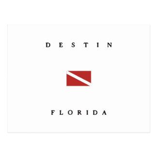 Destinフロリダのスキューバ飛び込みの旗 ポストカード