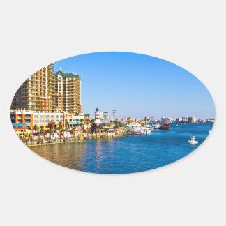 Destinフロリダ港の美しい景色の写真 楕円形シール