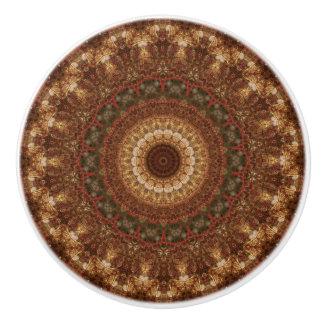 Detailed Brown and Green Mandala セラミックノブ
