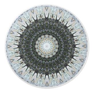 Detailed Silver and Green Mandala セラミックノブ