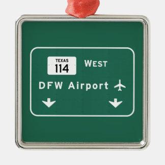 DFW空港114州連帯のテキサス州の価値を持つダラスFt - メタルオーナメント