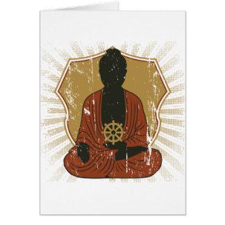 Dharmaの車輪をめい想している仏 カード