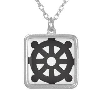 "Dharmacakra、Dharmachakra、""Dharmaの車輪"" シルバープレートネックレス"