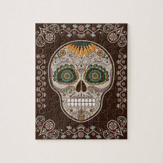 Dia de los Muertosのヒマワリの装飾的なスカル ジグソーパズル