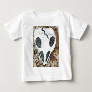 dia de los muertosの色彩の鮮やかなスカル ベビーTシャツ