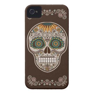 Dia de los Muertosの装飾的なヒマワリのスカル iPhone 4 Case-Mate ケース
