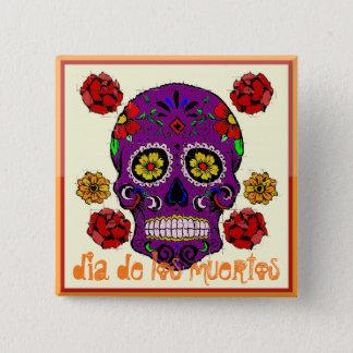 Dia de los muertos -- 砂糖のスカルボタン 5.1cm 正方形バッジ
