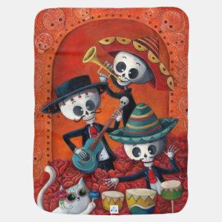 Dia de Los Muertos Skeletonのマリアッチのトリオ ベビー ブランケット