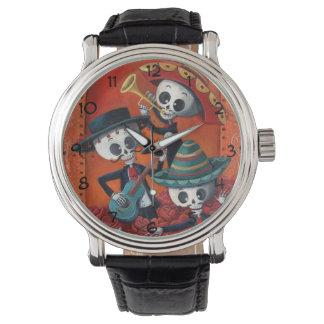 Dia de Los Muertos Skeletonのマリアッチのトリオ 腕時計