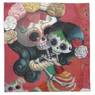 Dia de Los Muertos Skeletonsの母および娘 ナプキンクロス