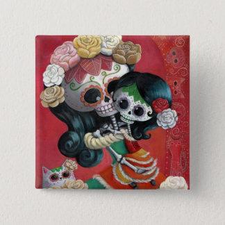 Dia de Los Muertos Skeletonsの母および娘 5.1cm 正方形バッジ