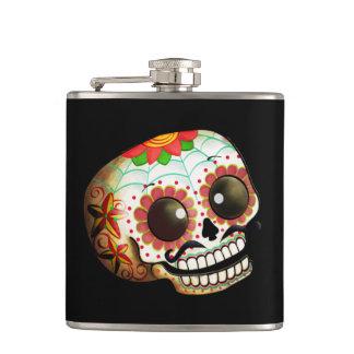 Dia de Los Muertos Sugarのスカルの芸術 フラスク