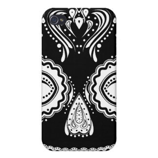 Dia de los Muertos Thatの女の子のスカルの黒 iPhone 4 カバー
